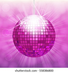 Disco ball isolated on gradient background with light cloudy circles like bokeh effect and rays