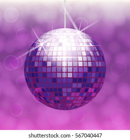 Disco ball isolated on gradient background with light cloudy circles like bokeh effect