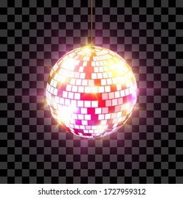 Disco ball with light rays isolated on transparent background. Vector illustration.