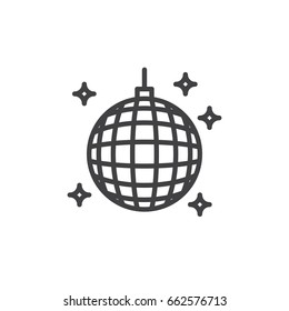 Disco ball line icon, outline vector sign, linear style pictogram isolated on white. Night club symbol, logo illustration. Editable stroke. Pixel perfect
