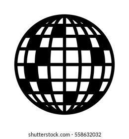 Disco ball, mirror or glitter ball flat vector icon for music apps and websites