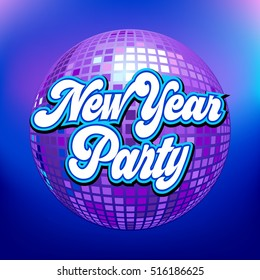 Disco ball with New Year Party text