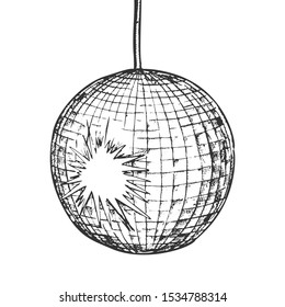 Disco Ball Night Club Equipment Monochrome Vector. Elegance Mirror Disco Globe With Bright Effect Engraving Concept Template Hand Drawn In Vintage Style Black And White Illustration