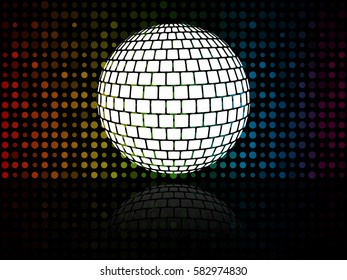 Disco ball on colorful background