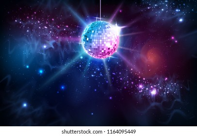 Disco ball. Disco ball on open space background