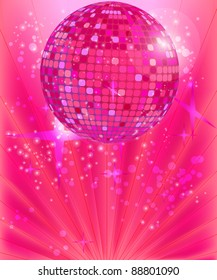Disco ball on the pink background