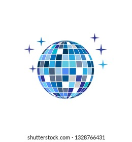 Disco ball party icon isolated on white background. Vector illustration, flat design.
