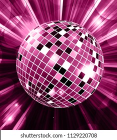 Disco ball party vector background with rays vector