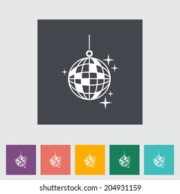 Disco ball. Single flat icon on the button. Vector illustration.