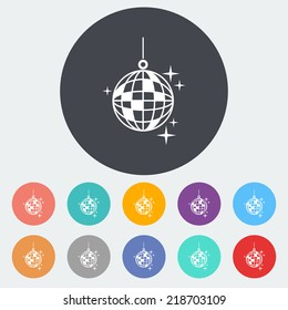 Disco ball. Single flat icon on the circle. Vector illustration.