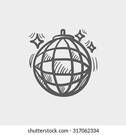 Disco ball sketch icon for web, mobile and infographics. Hand drawn vector dark grey icon isolated on light grey background.