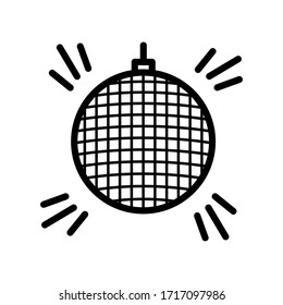 Disco ball thin line icon isolated on white background EPS Vector