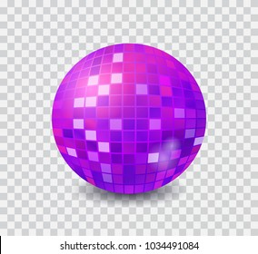 Disco ball ultraviolet isolated on transparent background