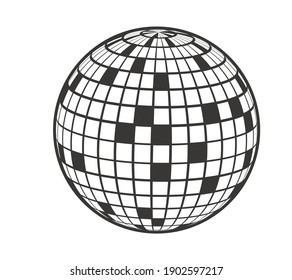 Disco ball Vector icon. Party element 80s. 70s. 90s. Dj.