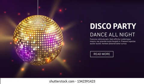 Disco banner. Mirrorball party disco ball invitation card celebration fashion partying poster template dance club vector illustration