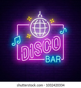 Disco Bar neon sign. Night club banner, logo, emblem and label. Bright signboard, light banner.  Vector illustration.