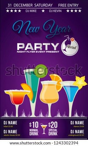 disco cocktail new year party invitation or bar menu with different types of cocktail glasses with