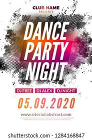 Disco dance party flyer poster. DJ dance music template event.