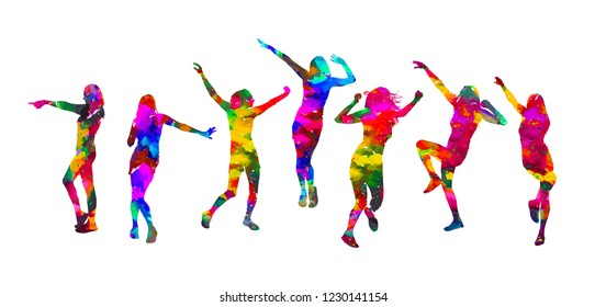 Disco. Dancing girls. Vector illustration