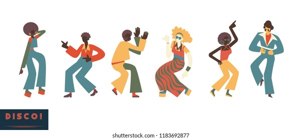 Disco dancing people vector illustration set with various men and women with clothes and hairstyles in retro 70s style in flat cartoon style isolated on white background.