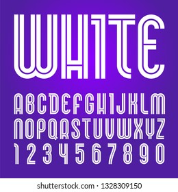 Disco font. Trendy alphabet, white vector letters on a purple background.