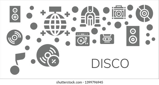 disco icon set. 11 filled disco icons.  Simple modern icons about  - Woofer, Mirror ball, Vinyl, Turntable, Musical note, Cassette, Jukebox, Vynil, Amplifier, Subwoofer