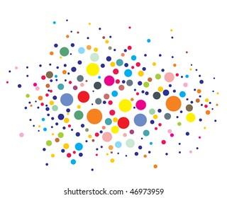 disco lights dots pattern on black background, Vector illustration