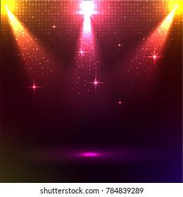 Disco lights on shiny backgound.