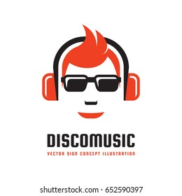 Disco music - vector logo template concept illustration in flat style design. Audio mp3 sign. Modern sound icon. Dj symbol. Human head character. Headphones insignia. Record label songs.