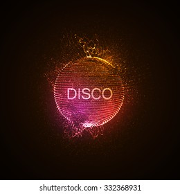 Disco neon sign. 3D illuminated distorted sphere of glowing particles, wireframe and splashes. Music party. Vector illustration. Disco ball.