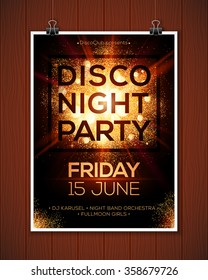 Disco night party vector poster template hanging at wooden background