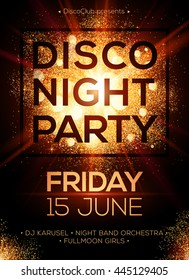 Disco night party vector poster template with shining golden spotlights background