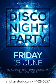 Disco night party vector poster template with shining blue shining spotlights background