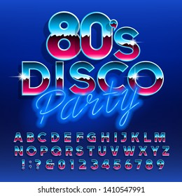 80's Disco Party alphabet font. Letters and numbers. Stock vector typescript font for your design in retro 80s style.