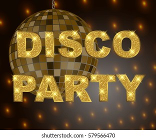 Disco party background with gold glitter text for poster or flyer