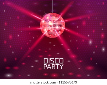 Disco party background. Music dance vector design for advertise. Disco ball flyer or poster design promo.