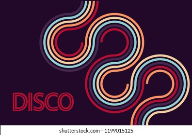 Disco party background vector. 70s inspired poster.