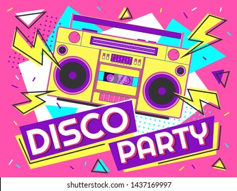 Disco party banner. Retro music poster, 90s radio and tape cassette player funky colorful design. Memphis music parties, 80s advertising audio poster vector background illustration