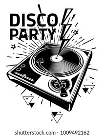 Disco party - black and white turntable musical design
