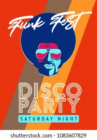 Disco party event flyer. Collection of the creative vintage poster. Vector retro style template. Black man in sunglasses.