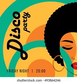 Disco party event flyer. Creative vintage poster. Vector retro style template. Front view portrait of a black woman face.