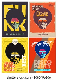 Disco party event flyers set. Collection of the creative vintage posters. Vector retro style template. Black man in sunglasses.