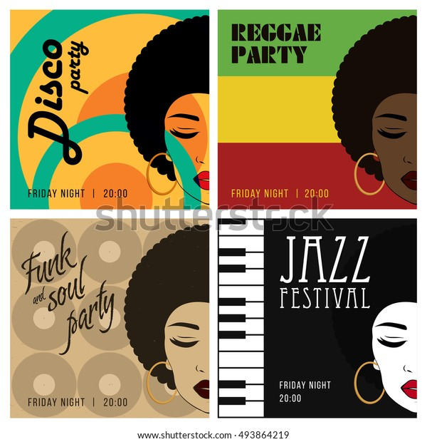 Disco Party Event Flyers Set Reggae Stock Vector (Royalty Free