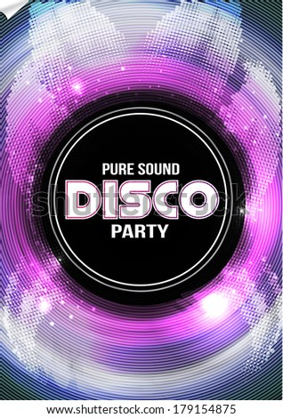 Disco Party Flyer Background Template Vector Stock Vector Royalty