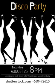 Disco party flyer. Closeup of legs dancing. Black and white illustration