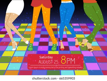 Disco party flyer. Feet of people dancing on club party. Unrecognizable