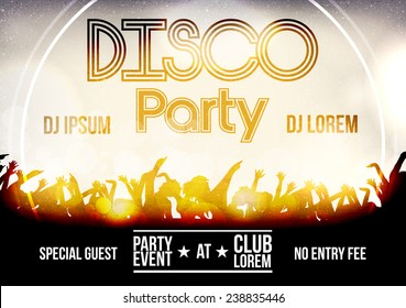 Disco Party Flyer Template - Vector Illustration