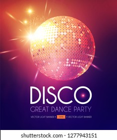 Disco Party Flyer Templatr with Mirror Ball and Light Effects. Vector illustration