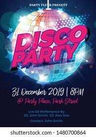 Disco Party Night Vector Template Flyer design for Party celebration with Disco Ball-Vector