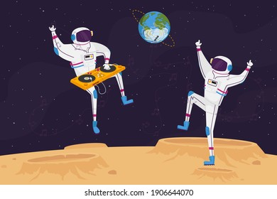 Disco Party on Alien Planet or Moon Surface with Dj and Astronaut Characters Dancing with Turntable. Spacemen in Galaxy Listen Music Dance in Cosmos Weightlessness. Cartoon People Vector Illustration
